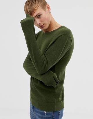 J.Crew Mercantile crew neck pique knit sweater in green marl