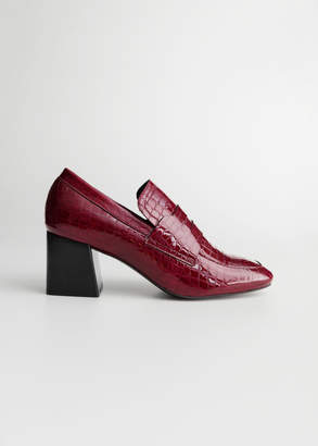 And other stories Patent Croc Heeled Loafers