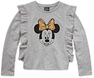 DISNEY MINNIE MOUSE Disney Long Sleeve Minnie Mouse Panel Sweatshirt Girls