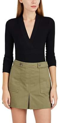 ATM Anthony Thomas Melillo Women's Rib-Knit V-Neck Long-Sleeve Bodysuit