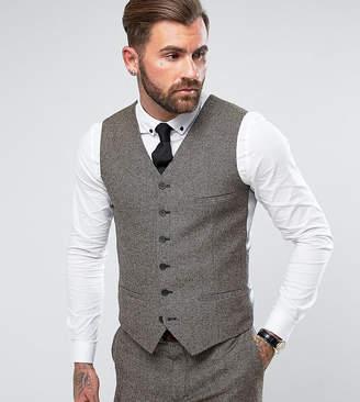 Heart & Dagger Slim Waistcoat In Herringbone Tweed