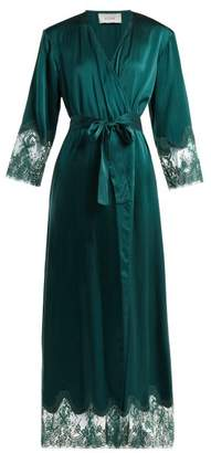 Icons Art Cyclamen Silk Robe - Womens - Dark Green