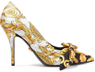 Versace Printed Silk-faille And Leather Pumps - Gold