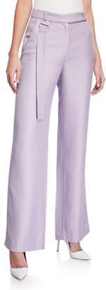 Sally LaPointe Twill Wide Leg Strap-Waist Pants