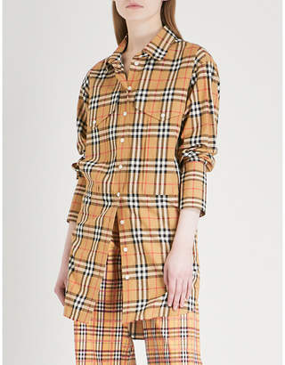 Burberry Oversized checked cotton shirt