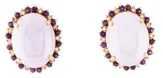 14K Dyed Lavender Jadeite, Amethyst & Diamond Earrings