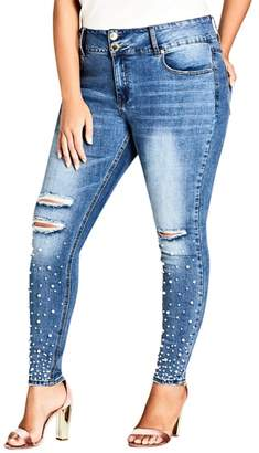 City Chic Sweet Pearly Jeans