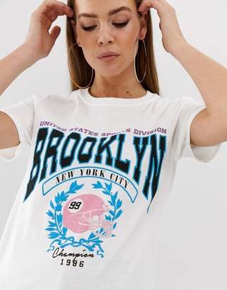 Missguided Brooklyn slogan t-shirt in white