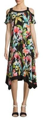 Rafaella Plus Framed Floral Cold-Shoulder Dress