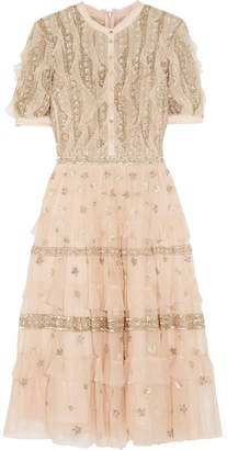 Needle & Thread - Jet Frill Ruffled Embellished Tulle Dress - Antique rose
