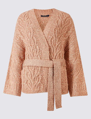 Limited Edition Cotton Blend Textured Long Sleeve Cardigan