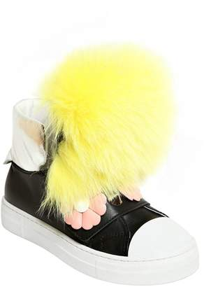 Fendi Nappa Leather Sneakers W/ Rabbit Fur