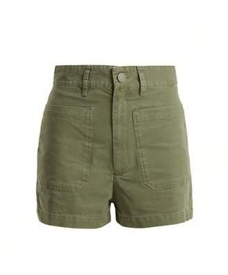 Masscob High Rise Cotton Shorts - Womens - Khaki