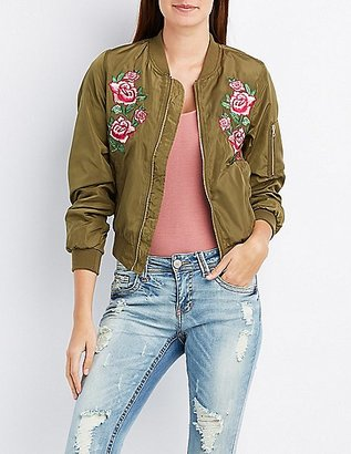 Rose Embroidered Bomber Jacket $36.99 thestylecure.com