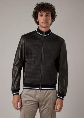 Giorgio Armani Jacket In Glove-Quality Nappa Lambskin With A Stitched Stretch Effect On The Front
