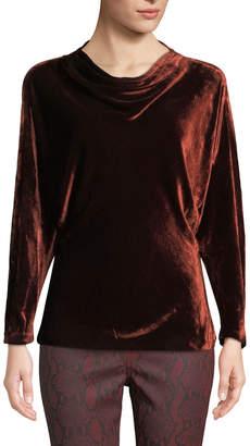 A.L.C. Miller Cowl-Neck Velvet Long-Sleeve Top