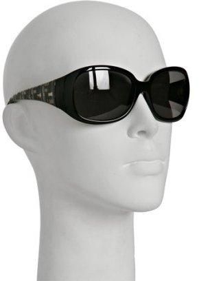Fendi black plastic zucca detail round sunglasses