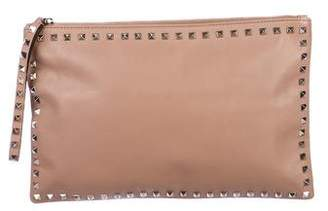 Valentino Large Leather Rockstud Clutch