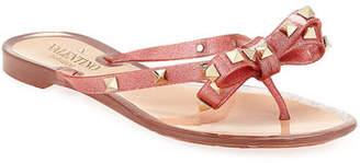 Valentino Rockstud PVC Flat Thong Sandal