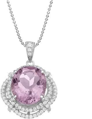 Sloane Rebecca Amethyst & Cubic Zirconia Platinum Over Silver Halo Pendant Necklace
