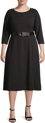 Calvin Klein Three Quarter Sleeve Belted Midi Dress