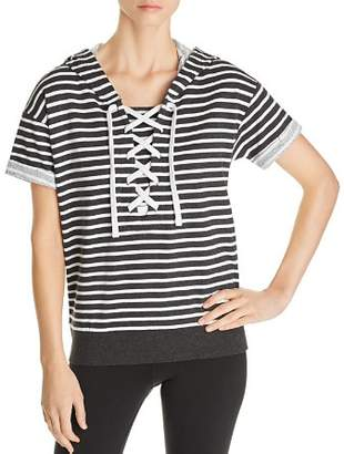 Andrew Marc Short-Sleeve Striped Cotton Hoodie