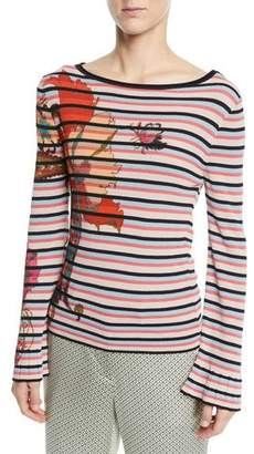 Etro Embroidered Floral-Print Striped Sweater