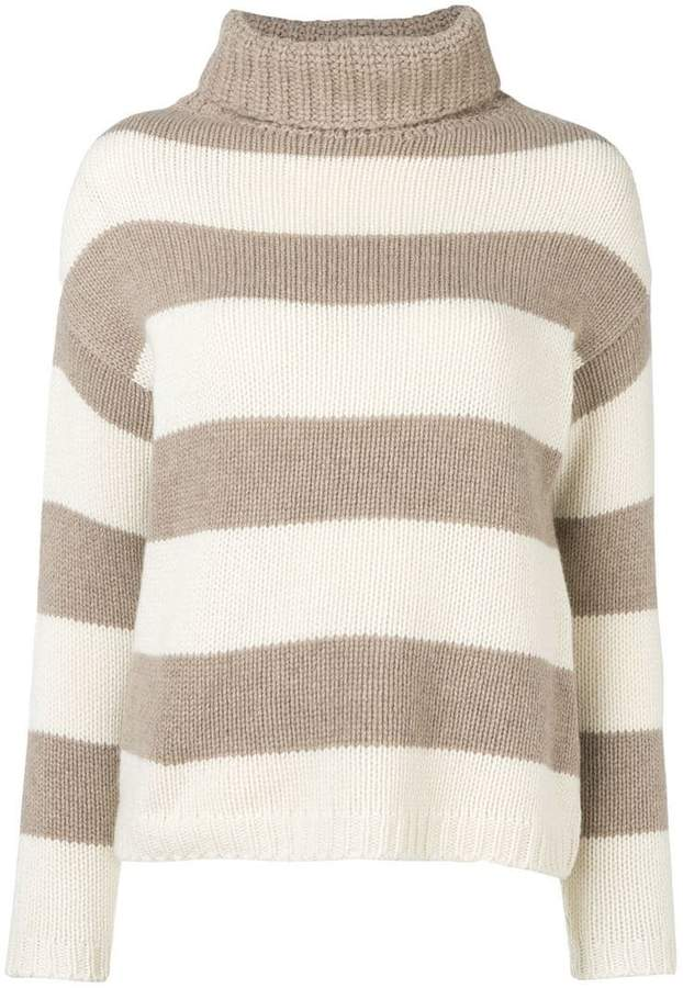 Aragona striped roll neck sweater