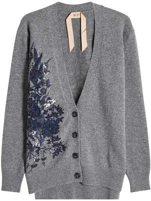 N°21 N21 Wool Cardigan with Sequins and Embroidery