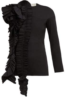 A.W.A.K.E. Mode A.w.a.k.e. Mode - Ruffled Asymmetric Wool Blend Top - Womens - Black