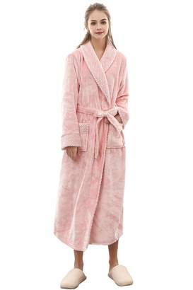 b43f961c23 Cahayi Warm Thick Long Women Bathrobe Winter Plush Flannel Men Robe  Housewear