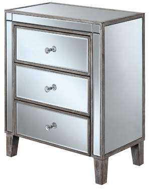 House of Hampton Claybrooks 3 Drawer Mirrored End Table with Storage