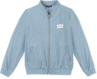 b33d178e2523 Calvin Klein Big Girls Cotton Chambray Bomber Jacket