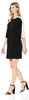Julian Taylor Women's a-Line Dress with Striped Sleeves