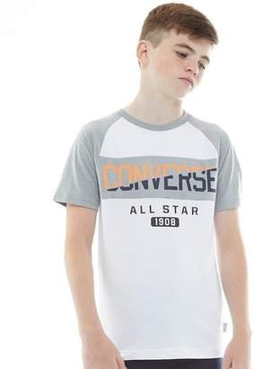Converse Junior Boys Spliced Graphic Raglan T-Shirt White