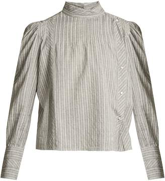 Etoile Isabel Marant Oak high-neck striped cotton shirt