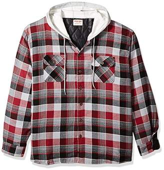 Wrangler Authentics Men's Big & Tall Long Sleeve Quilted Lined Flannel Shirt Jacket with Hood
