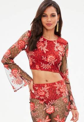 Missguided Red Oriental Embroidery Lace Flare Sleeve Crop Top