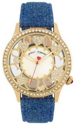 Betsey Johnson Multi Heart Motif Goldtone Metal Blue Denim Strap Watch