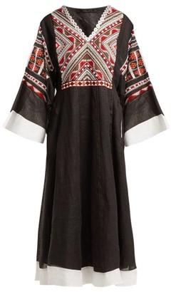 Vita Kin - Malta Embroidered Linen Midi Dress - Womens - Black Multi