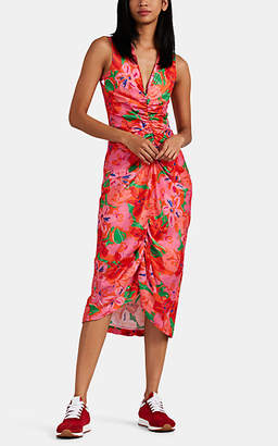 BROGGER Women's Audrey Floral Crepe Midi-Dress - Red