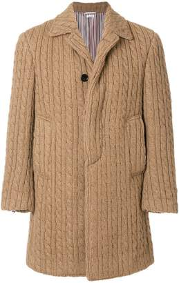 Thom Browne Ribbed Baby Cable Camel Hair Bal Collar Overcoat