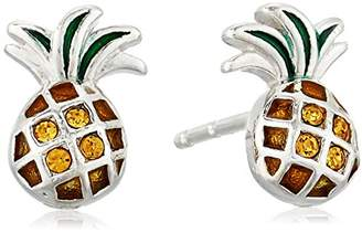 Sterling Silver Czech Crystal and Green Epoxy Pineapple Stud Earrings