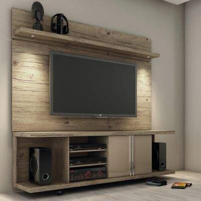 Manhattan Comfort Carnegie TV Stand and Park 1.8 Panel in Nature/Nude