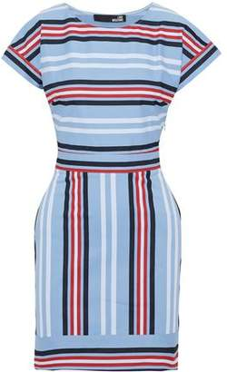 Love Moschino Woman Striped Cotton-blend Twill Mini Dress Sky Blue Size 40 Love Moschino