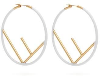 Fendi F Is Painted Hoop Earrings - Womens - White