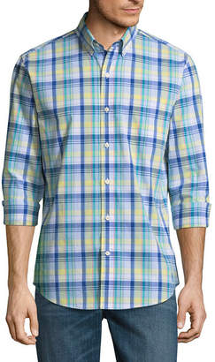 ST. JOHN'S BAY Long Sleeve Plaid Button-Front Shirt