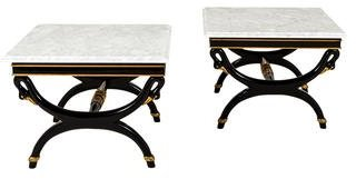 Pair of Angelo Capellini Marble Side Tables