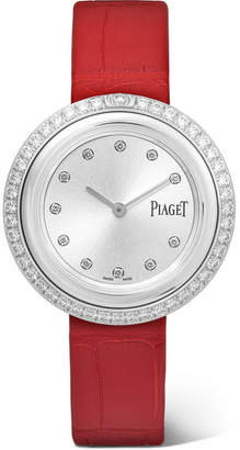 Piaget Possession 34mm Alligator, 18-karat White Gold Diamond Watch