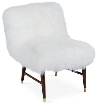 Le-Coterie Le Coterie Curly Ann Tibetan-Lamb Chair - White